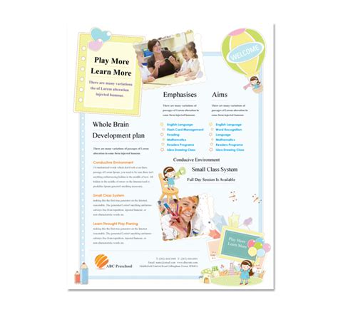 nursery brochure templates free preschool flyer template dlayouts graphic design