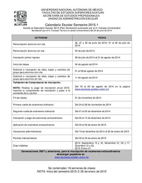 Calendario Escolar Unam Fes Acatlan Calendario 2015 1 Copy
