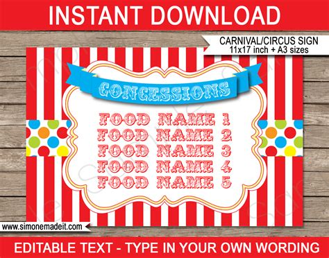 Concession Card Template by Carnival Printables Circus Printables