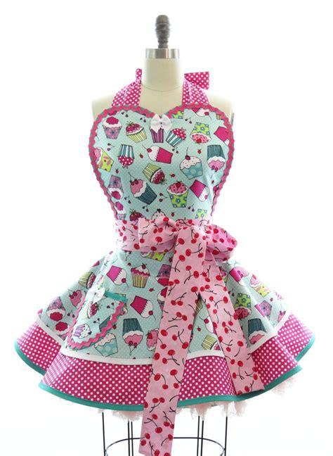 apron pattern cute retro apron cherry cupcake sexy womans aprons vintage