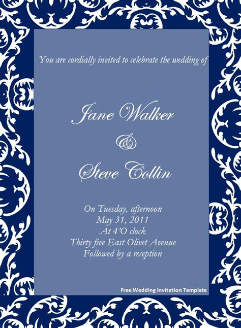 invitations templates free for word free wedding invitation template page word