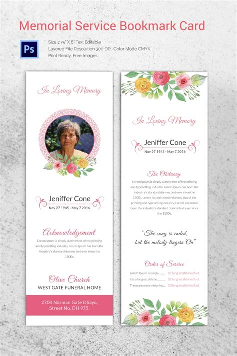 Obituary Card Template by 31 Funeral Program Templates Free Word Pdf Psd