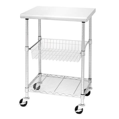 Seville Classics Kitchen Utility Cart With Bamboo Top by Seville Classics Stainless Steel Professional Kitchen Cart