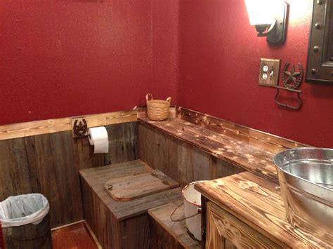 our rustic bathroom the paint is cabin valspar from