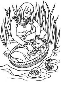 Moses Found Safely In River Of Nile Coloring Page  Color Luna sketch template