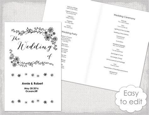 wedding program booklet template free wedding programs booklet template version free