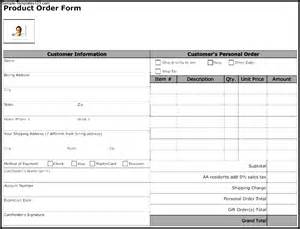 product order form template free product order form template sle templates