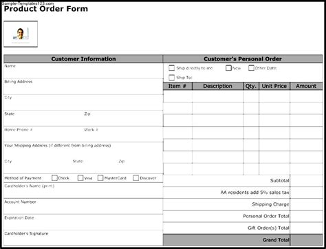 product order form template sle templates