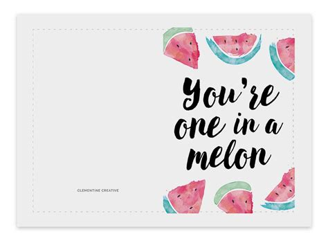Print Out Birthday Cards You Re One In A Melon Printable Birthday Card