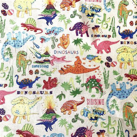 printable fusible fabric uk 100 cotton print fabric dinosaur dance cream col 103 nutex