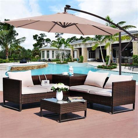 costway  hanging solar led umbrella patio sun shade