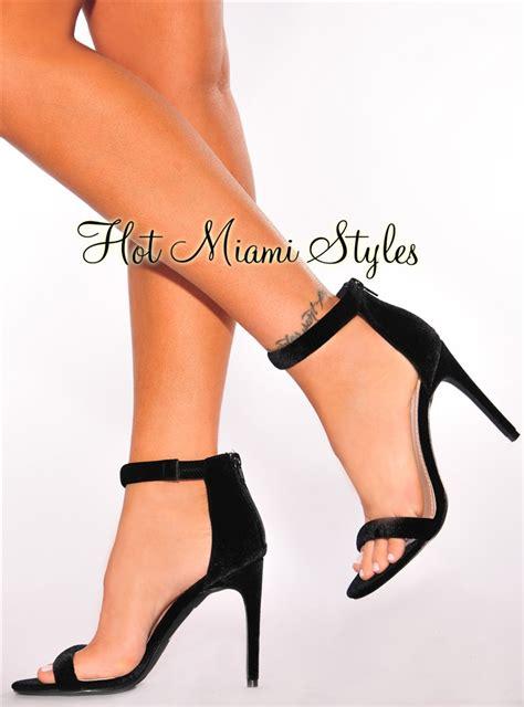 Brenda Open Toe Back Heels black velvet open toe high heels