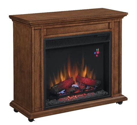 portable fireplace 33 quot infrared premium oak rolling mantel electric fireplace