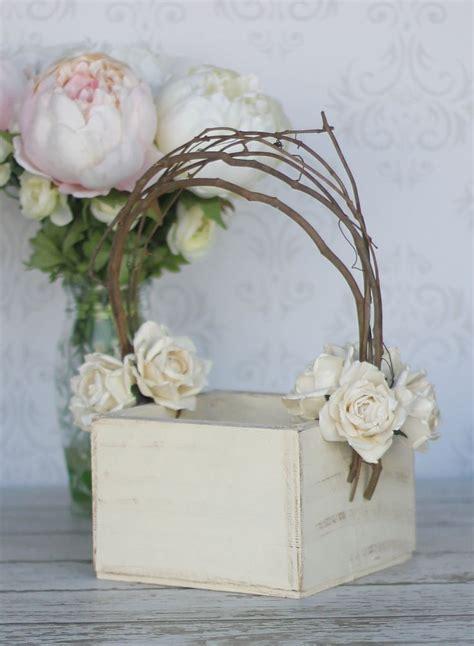 Flower Girl Basket Shabby Chic Wedding Decor (P10377)