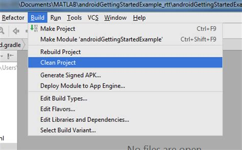import project into google android studio matlab & simulink