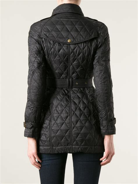 burberry brit quilted trench coat in black lyst