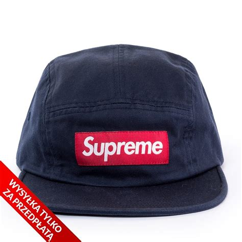 supreme 5 panel supreme 5 panel washed chino twill c cap navy caps