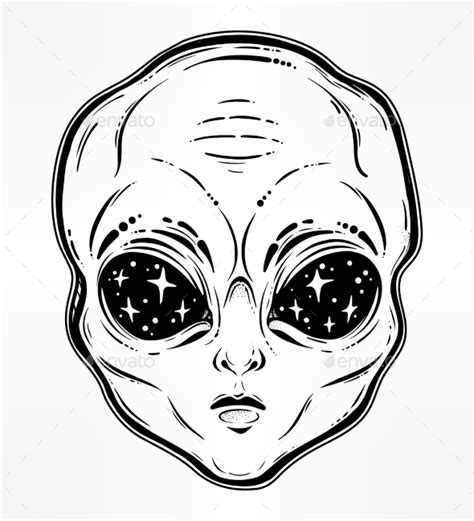 vector illustration with a alien head with starry by