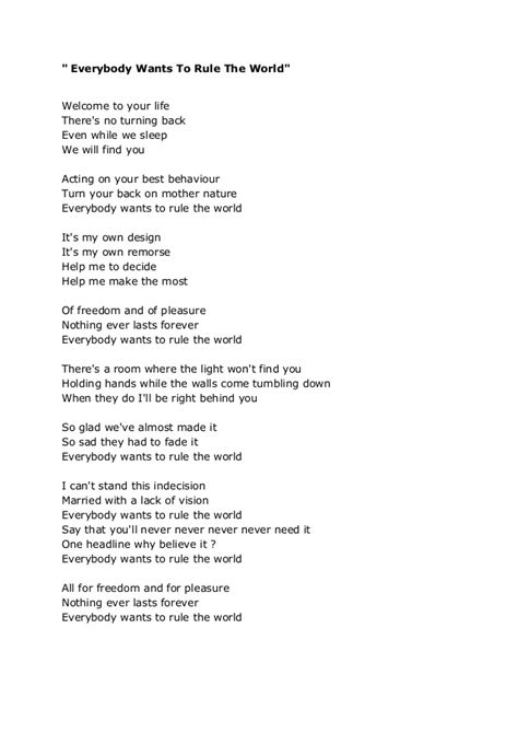 coldplay rule the world lyrics everybody wants to rule the word tears for fears
