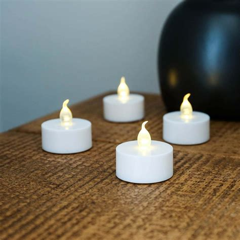 tea lights battery led flickering tea light candles white base