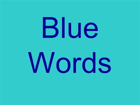 blue words with sounds