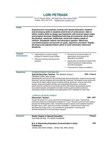 good teacher resume best letter sle