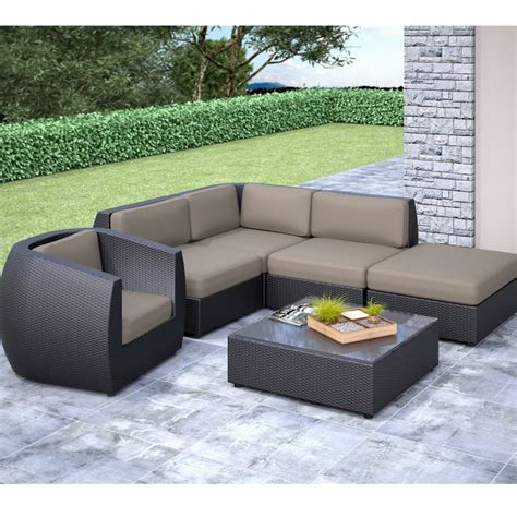 curved patio sectional corliving seattle curved 6 pc sectional with chaise lounge