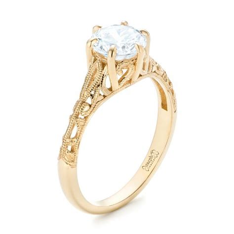 Yellow Gold Solitaire Engagement Rings And by Marquise Engagement Ring 102769