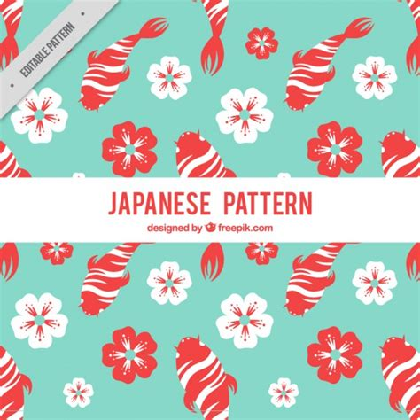 japanese pattern vector download japanese pattern with fishes and flowers vector free