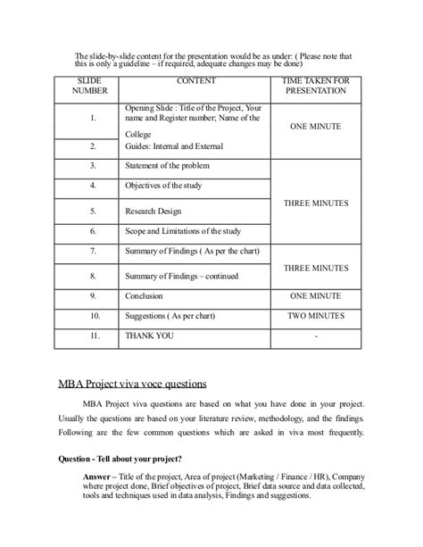 Mba Viva Questions by Mba Project Viva Questions And Guidelines