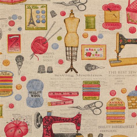 Sewing Upholstery Fabric by Cotton Linen Vintage Sewing Machine Print Cushion Curtain