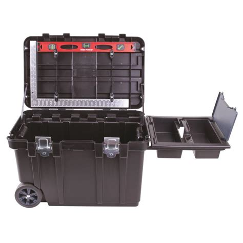 plastic rolling tool box shop blue hawk 31 75 in black plastic lockable wheeled