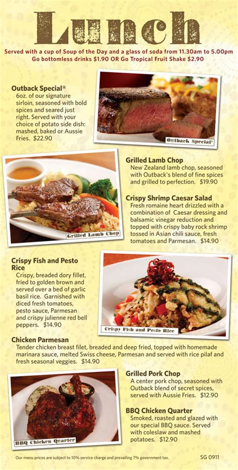 Outback Steak House Menu by The Gallery For Gt Outback Steakhouse Menu Pdf