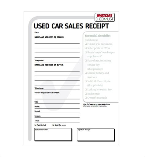 Car Parts Receipt Spredsheet Template by Car Sales Invoice Template Free Sanjonmotel