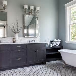 painted bathroom pale grey blue dark grey vanity for