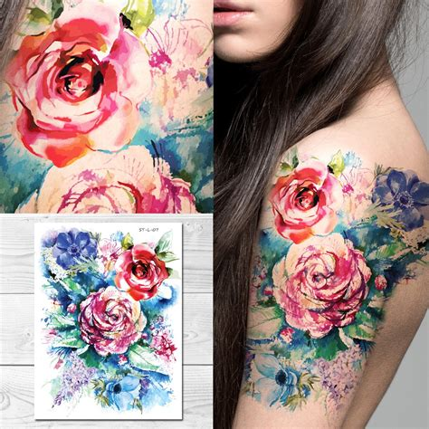 watercolor tattoos temporary supperb temporary tattoos flowers