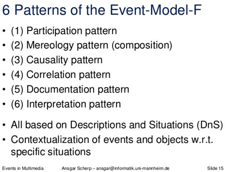 pattern language ontology events in multimedia theory model application