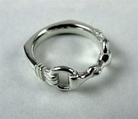 sterling silver heavy snaffle bit ring wedding band