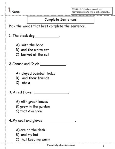 Writing Complete Sentences Worksheets by Second Grade Sentences Worksheets Ccss 2 L 1 F Worksheets