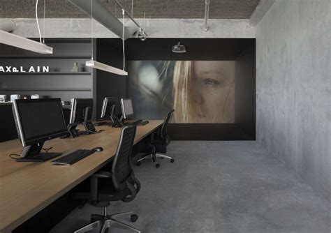 modern industrial office bold workplace design for media agency showcasing an