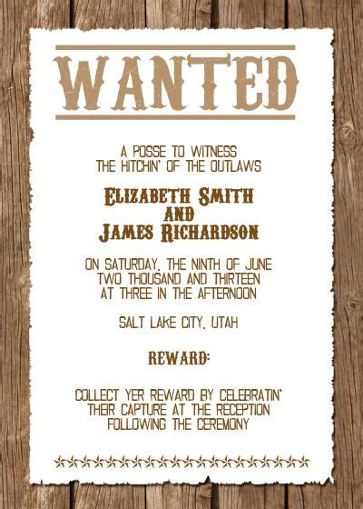 wanted western wedding invitation free template