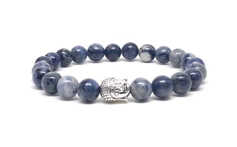 Handmade Bracelets For Guys - s beaded bracelet with dumortierite and silver buddha
