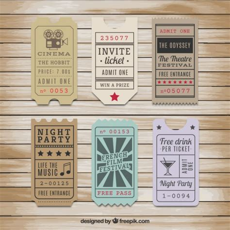 retro ticket place card template vintage tickets collection vector free