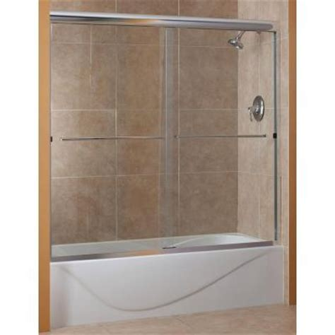 Home Depot Bathtub Shower Doors Foremost Cove 60 In X 60 In Semi Framed Sliding Tub Door In Rubbed Bronze With 1 4 In