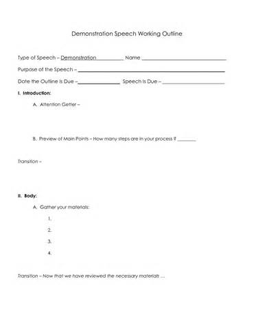 demonstration speech outline template demonstration speech outline format