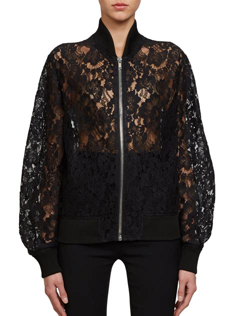 Lace Bomber Jacket lyst givenchy lace bomber jacket in black