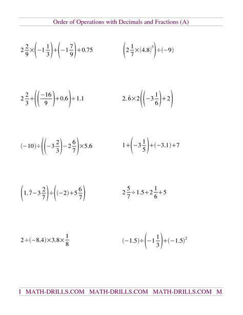 the decimals and fractions mixed with negatives a math
