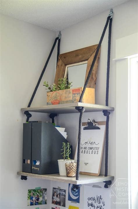 easy diy rope shelving shelves hanging shelves and shelving