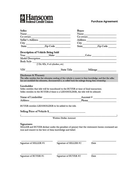 purchase agreement templates 42 printable vehicle purchase agreement templates