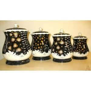 black and white kitchen canisters 2 dancing black bear kitchen canister set lodge decor